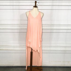 SAMPLE Front pleated dress with high/low hem