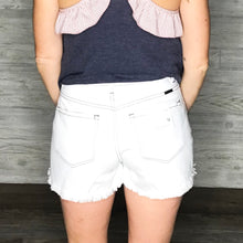 Load image into Gallery viewer, High rise mom shorts with high/low hem and contrast stitch