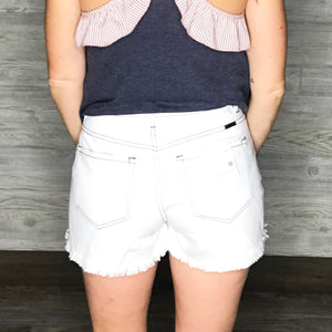 High rise mom shorts with high/low hem and contrast stitch