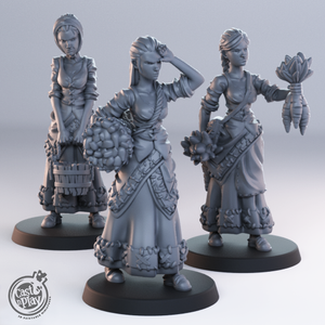 CNP 28mm 3 x NPC Girls Wargaming/Medieval D & D