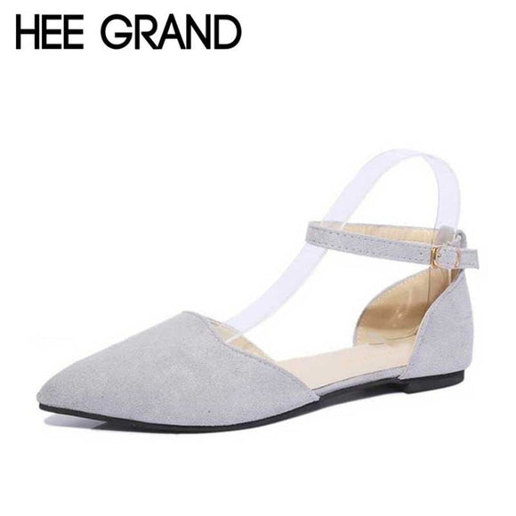 HEE GRAND Mom Flat with Women's Shoes Spring Summer Shallow Pointed Toe Solid Buckle Strap Wrap Heel Women Shoes XWD3722
