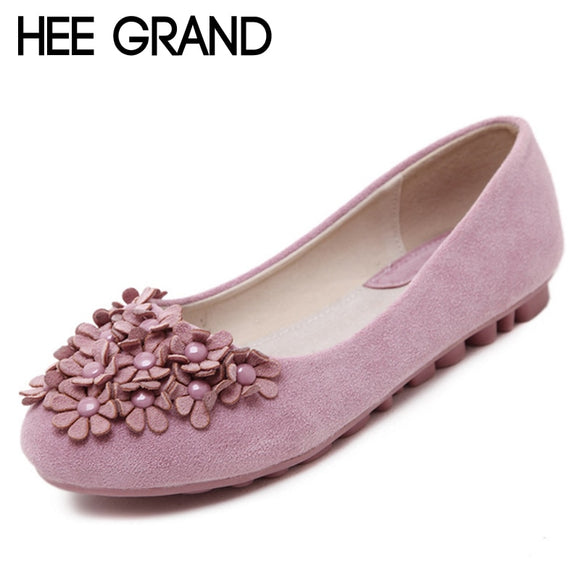 HEE GRAND Flower Decoration Women Comfortable Flats Rubber Buttom Round Toe Elegant Shoes for Party Causal Flats XWD6334