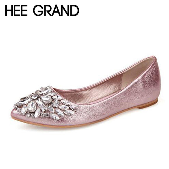 HEE GRAND 2018 New Women Fashion Flats Bling Vamp Crystal Decoration Women Slip-on Causal Mujer Shoes XWD6777