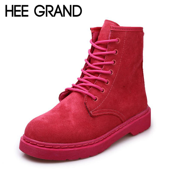 HEE GRAND 2018 New Arrive Women Fashion Boots Lace-up Autumn&Winter Shoes Flock Leather Ankle Boots Mujer Shoes XWX6792