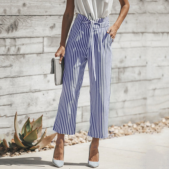 New Woman Self Belt Stripe Pants Loose Casual Trousers High Waist Wide Leg Pockets Pants Carrot Pants