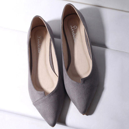 Woman Flats high quality suede Casual Comfortable pointed toe Rubber Shoes