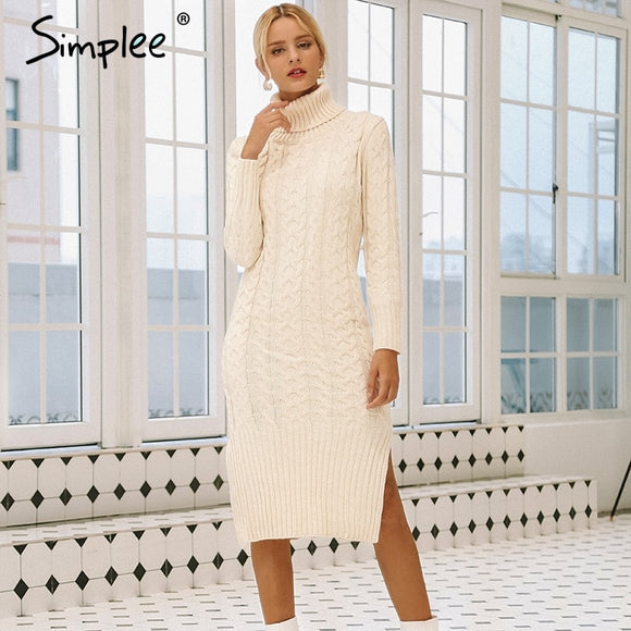 Simplee Elegant side split warm long sleeve women dress Turtleneck fit autumn winter sweater dress White dresses fashion 2018