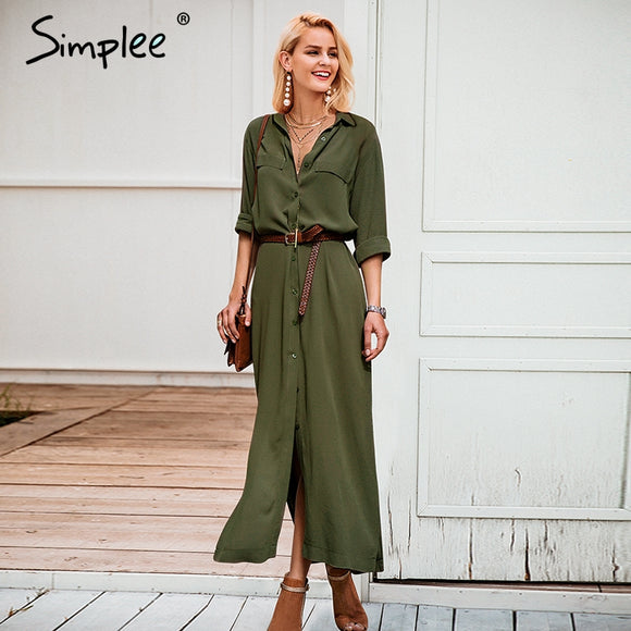 Simplee Casual buttons split long dress