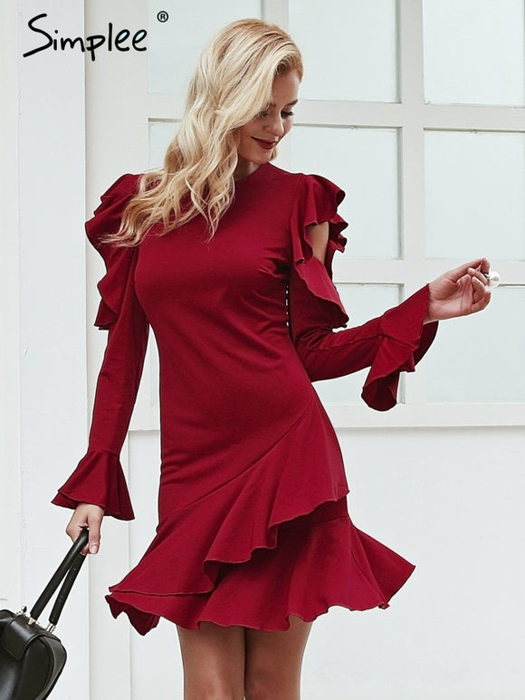 ruffles women dress Long sleeve