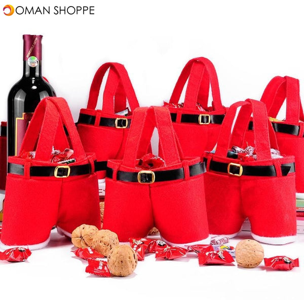 1 Peice Merry Christmas Gift Treat Candy Wine Bottle Bag Santa Claus Suspender Pants Trousers Decor Christmas Gift Bags