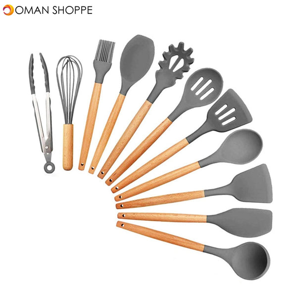 11Pcs Edible Silicone Non-stick Kitchen Utensils Set Cooking Spatula Gadget Tool