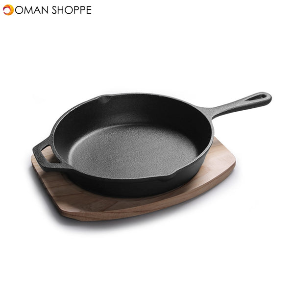 12'' Cast Iron Frying Pan No-Coating Saucepan Skillet Kitchen Home Cooking Tool With Wood Base