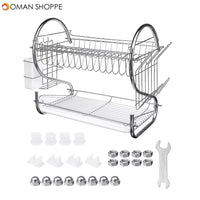 2-Tier Dish Rack Drain Drainer Home Kitchen Cup Dish Drying Plate Cutlery Holder Kitchen Storage Rack