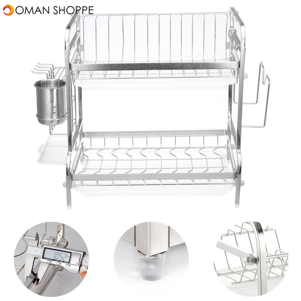 2 Tier Stainless Steel Drain Dish Rack Tableware Cutlery Drain Rack Kitchen Shelf Rack