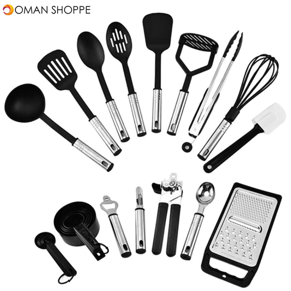 24Pcs Cooking Utensils Kitchen Silicone Stainless Steel Tool Spoon Whisk Set