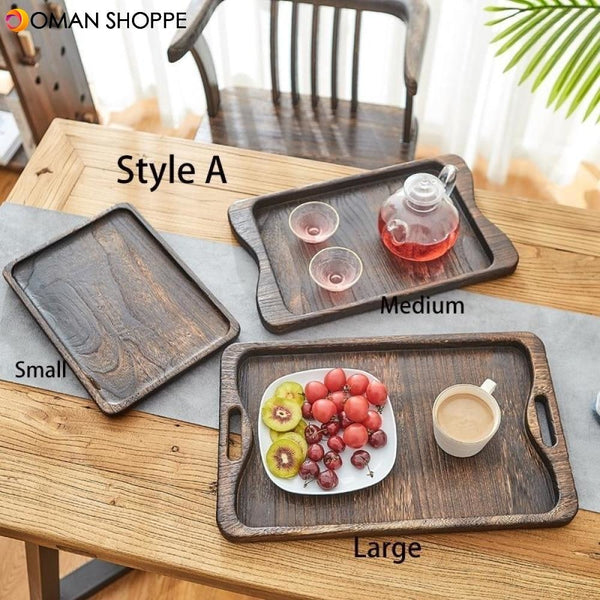 3-piece Set Paulownia Wood Serving Tray Tea Tray Food Tray Rectangular Solid Wood Chinese Gongfu Tea Set Tray