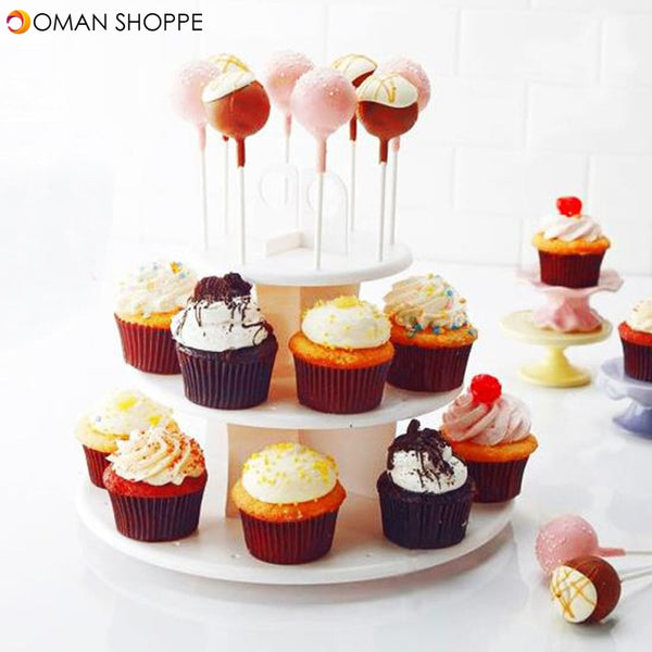 3 Tiers 42 Holes Plastic Cake Pop Lollipop Cupcake Display Revolving Cake Stand Tower Holder