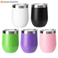 360ML Egg Vacuum Cup Cocktail W-ine Glass 12oz Stainless Steel Insulated Tumbler