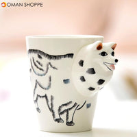 3D Ceramic Mug Pure Hand-painted Animal Cup Cartoon Cup Painted Coffee Mug