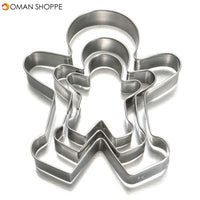 3Pcs Christmas Gingerbread Man Cookie Cutter Stainless Steel Biscuit Mold (Boy)