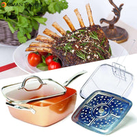 4 Piece/ Set Copper Square Frying Pan Induction For Chef Glass Lid Fry Basket Steam Rack