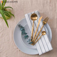 4PCS Set Polished Cutlery Stainless Steel Flatware Set Black/Golden/Silver