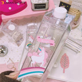 500ml Fantastic Summer Unicorn Cartoon Milk Drink Box Water Bottle Birthday Kid Clear Plastic Water Bottle Gym Sport Cactus Juice Frui Holder Fitness Picnic