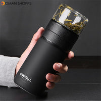 600ml/20 oz Insulated Water Bottle Tea Cup with Tea Infuser Travel Mug Tumbler