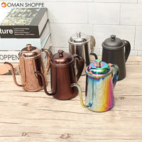 650ml Stainless Steel Pour Over Drip Coffee Tea Pot Kettle Colorful Home Kitchen Tea Making Tools