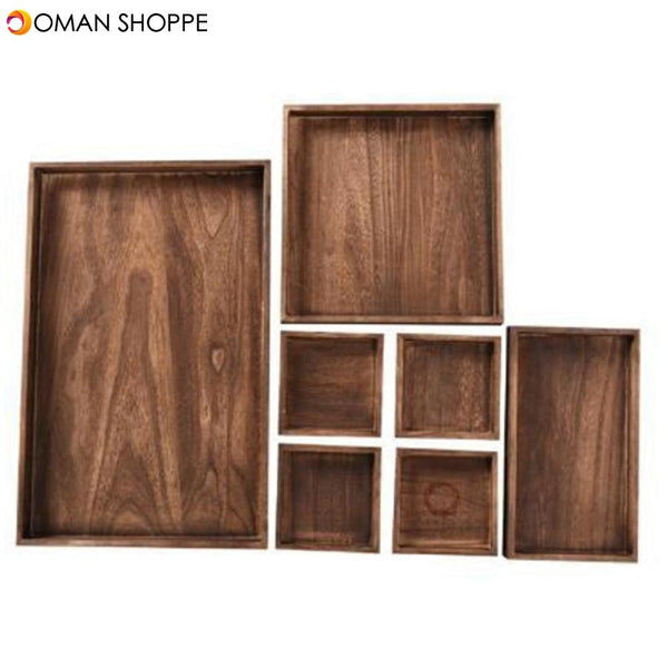 7Pcs/Set Wooden Tea Tray Serving Table Plate Snacks Dessert Food Storage Dish Tea Coffee Breakfast Tray Hotel Home Serving Tray