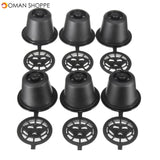 8 Pcs Sets Black Refillable Coffee Capsule Cup Reusable Refilling Filter For Nespresso Machine With Brush