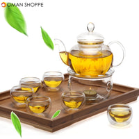 8 Pcs/Set Clear Glass Tea Double Wall Teapot & Cup Filtering Drink Home Decor