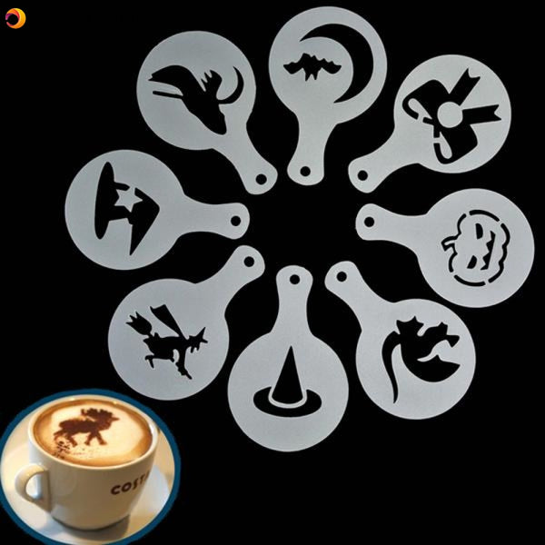8Pcs Halloween Cappuccino Latte Art Coffee Stencils Duster Cake Icing Spray