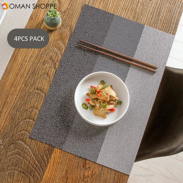 Anti-skid Placemat Washable Dining Table Mats Heat Resistant Decorative Placements Woven Vinyl Place Mats Pack of 4PCS