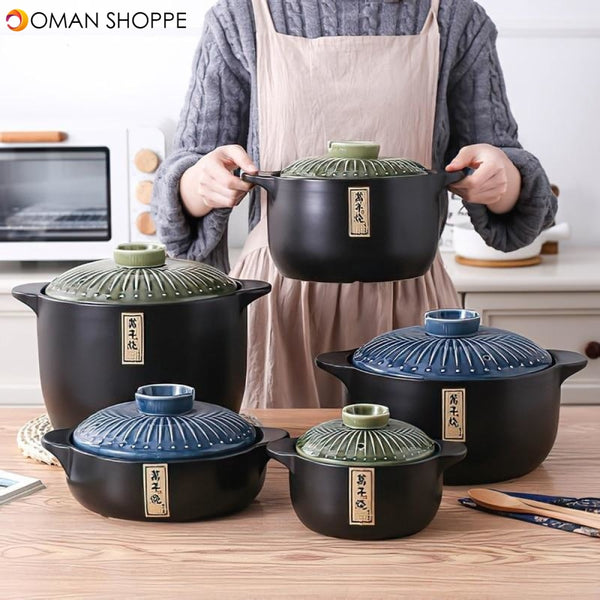 Ceramic Casserole Japanese Round Green Blue 2.5-6L Multiple Size Cooking Pot Cookware Household Kitchen Supplies Saucepan