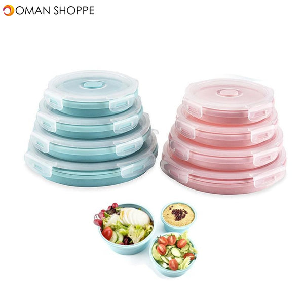 Collapsible Stackable Food Storage Containers With Lids- Foldable Bowl Lunch Bento Box Food Prep Containers
