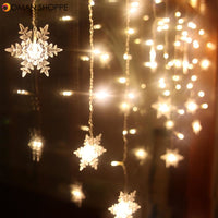 Curtain Snowflake Christmas Decoration LED String Lights Flashing Lights Curtain Light Waterproof Outdoor Party Lights