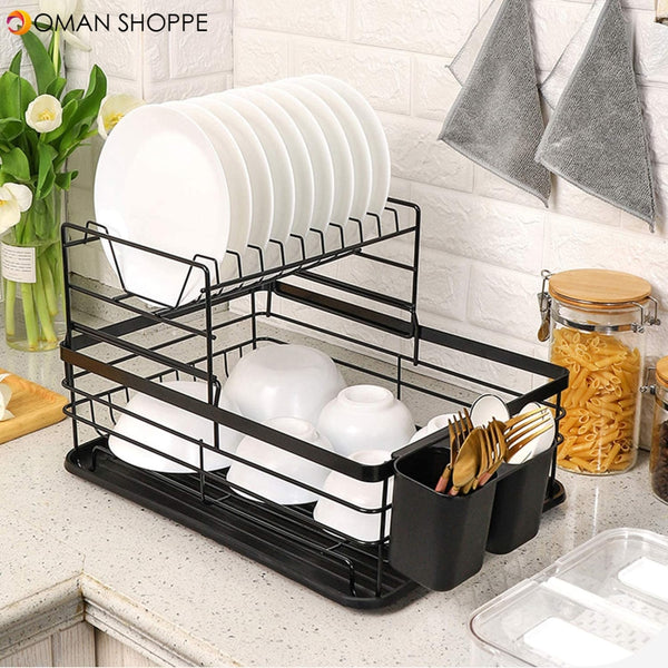 Dish Drying Stand Bowl Storage Rack Plate Organizer Utensil Holder for Kitchen Countertop Large Capacity Antibacterial Stylish Black