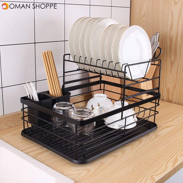 Dish Drying Stand Bowl Storage Rack Plate Organizer Utensil Holder for Kitchen Countertop Large Capacity Antibacterial Stylish (Black)