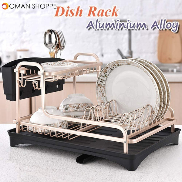 Dish Drying Stand With Drainer Belvery 2 Tiers Large Kitchen Dish Rack with Removable Cutting Board Holder Utensil Holder and Cup Holder Baking Paint Process Coatings Dish Drainer (Model A)