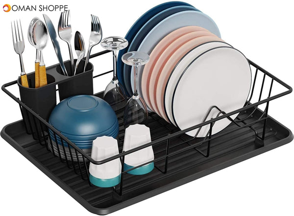 Dish Rack Dish Drying Stand Small Dish Rack with Tray Dish Drainer Plate Rack Dish Rake Kitchen Organizer Dish Drying Rack Countertop Black Kitchen Utensils Dish Racks Black Dish Stand