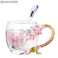 Enamel Flower Tea Mug Exquisite Plum Coffee Cup Handmade Crafts Christmas Gifts