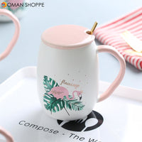Flamingo Pattern Ceramic Mug Coffee Mug Water Cup with Lid