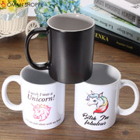 Funny Unicorn Heat Color Changing Ceramic Mug Coffee Milk Tea Cup Home Christmas Gift