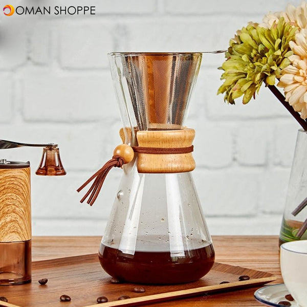Heat-resistant Hand-washed Filter Coffee Pot with Wooden Handle