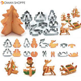 Honana 8PCS 3D Christmas Scenario Cookie Cutter Mold Set Stainless Steel Fondant Cake Mould
