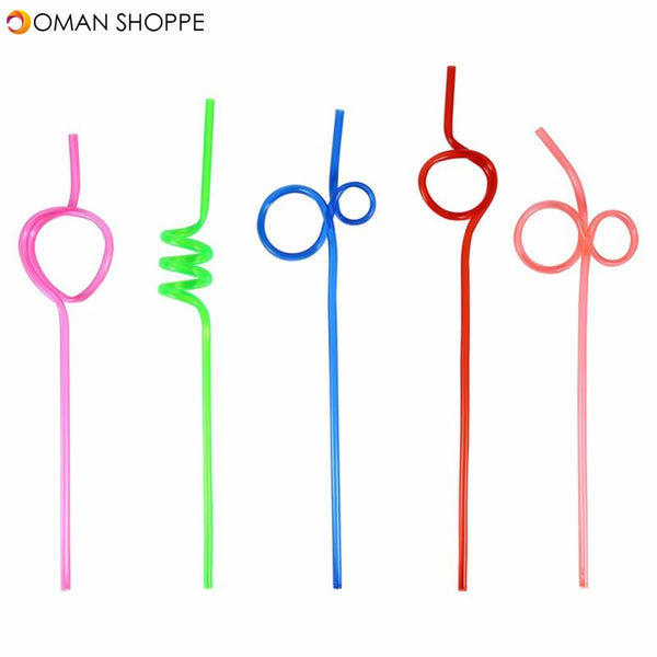 HONANA CF-ST01 Colorful Crazy Curly Loop Plastic Drinking Straws For Birthday Party Bar