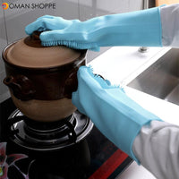 Household Insulated Silicone Dishwashing Gloves Kitchen Cleaning Brush Glove