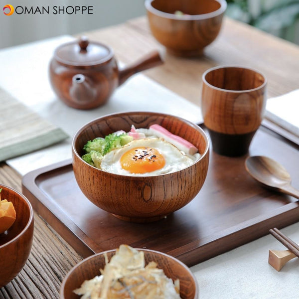 Japanese Style Wooden Bowl Soup Salad Rice Noodles Bowls Natural Fruit Bowl Ice Cream Bowls Solid Wood Tableware Kitchen Utensil