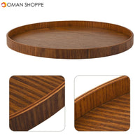 KCASA 30cm Natural Wooden Round Plate Tea Tray Fruit Food Bakery Serving Trays Dishes Platter Kitchen Supplies New Tableware Natural Plywood Serving Plate